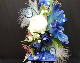 Royal blue and white silk orchid corsage homecoming corsage prom corsage set