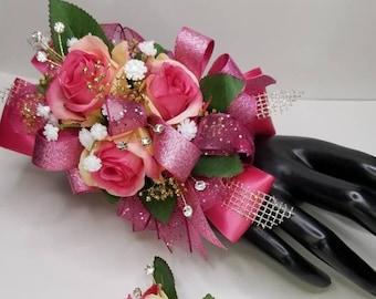 Hot pink silk wrist corsage set homecoming corsage prom corsage set
