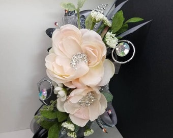 Dark gray and blush silk wrist corsage set homecoming corsage prom corsage set