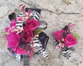Magenta pink and black wrist silk corsage set homecoming corsage prom corsage set