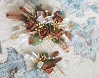 Brown and gold silk wrist corsage homecoming corsage set prom corsage set