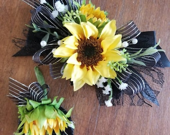 Black and silver sunflower wrist corsage set homecoming corsage prom corsage set