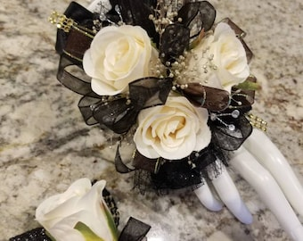 Black and gold wrist corsage set silk corsage homecoming corsage prom corsage set