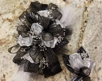 Black and silver silk wrist prom or homecoming corsage set