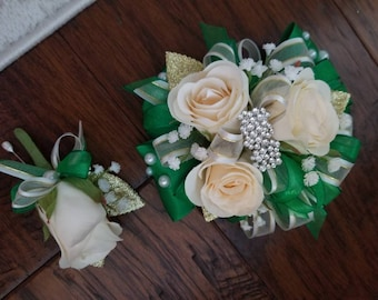 Green and cream silk rose wriat corsage set prom homecoming corsage
