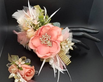 Coral rose silk wrist corsage set homecoming corsage prom corsage
