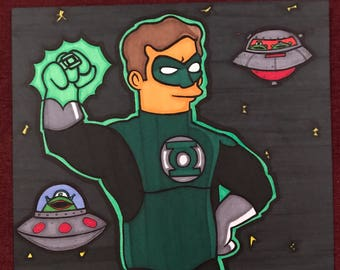 Green Lantern Marker Print ~ 9 in x 12 in