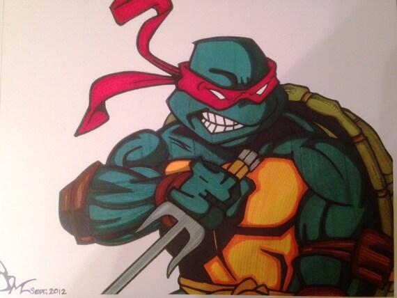 Raphael Teenage Mutant Ninja Turtle Comic Style Marker Print 9 Etsy