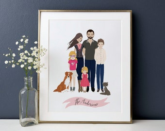 Family Portrait Illustration Custom Family Portrait Drawing Personalized Family Name Print Custom Family Cartoon fathers day Gift