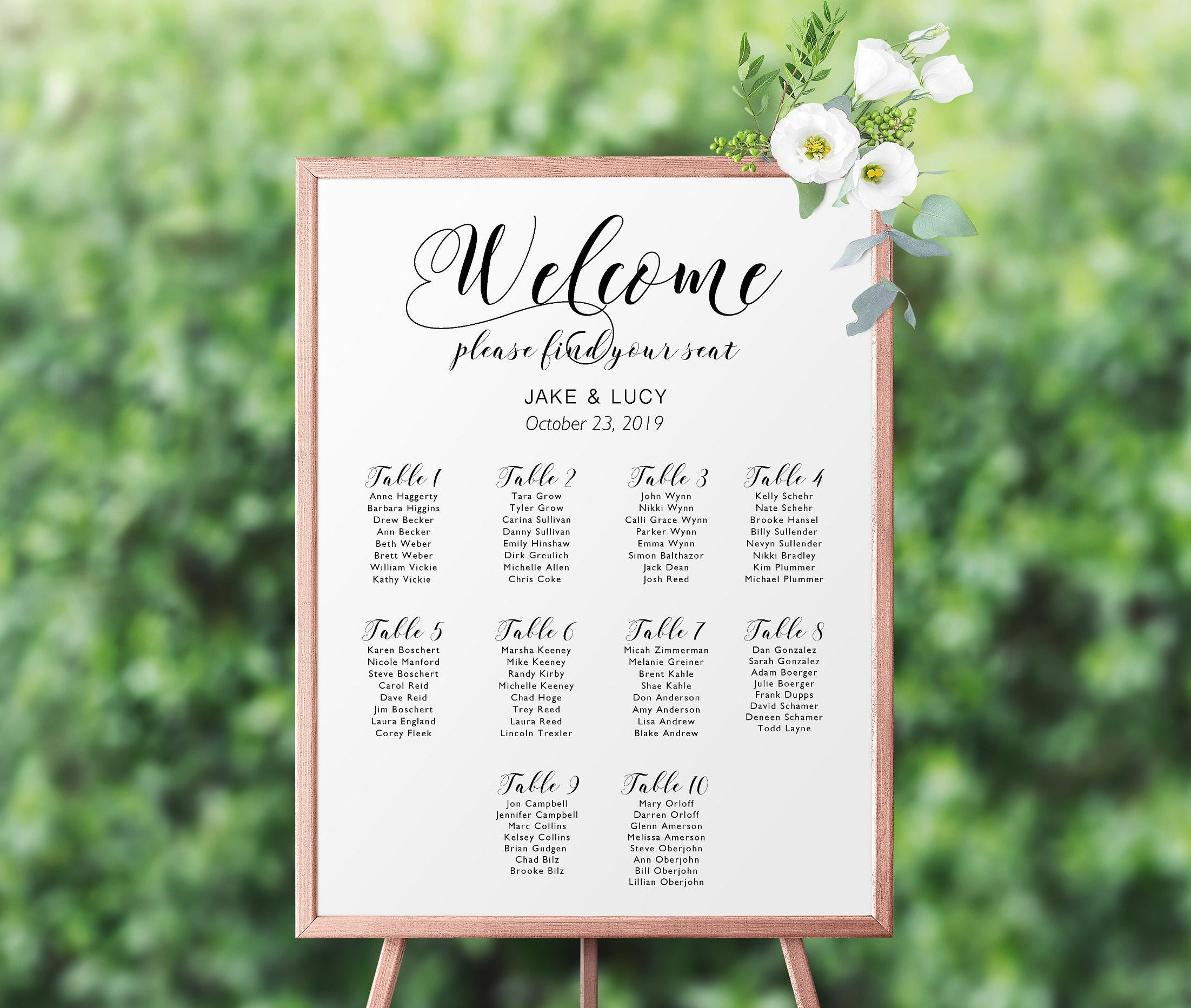 Wedding Seating Chartgold Foil Seating Chartseating Listwedding Welcome Signtable Assignmenttable Names Chartseating Chart Download