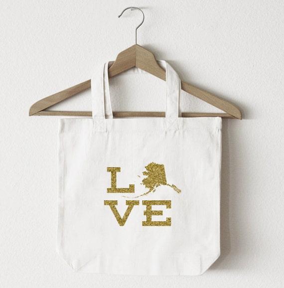 Love Idaho tote bagcustom totemarket bagcanvas shopping bagstate totemarket tote reuseable bag Idaho state bag gold glitter