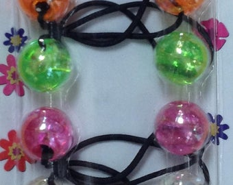 Pastel Colors Girl Kids Scrunchie Beads Hair Tie Ball Ponytail Holder Band