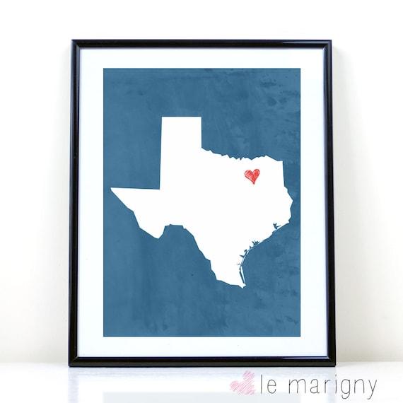 Texas Dallas Fort Worth Printable Wall Art Digital State Etsy