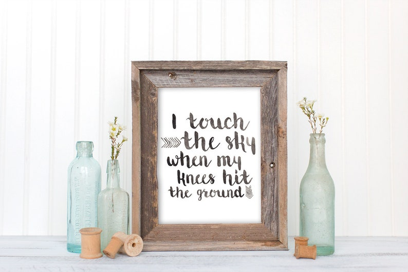 I Touch The Sky When My Knees Hit The Ground, Song Lyrics, Christian Wall  Art, Hillsong United, Watercolor Hand Lettering Print