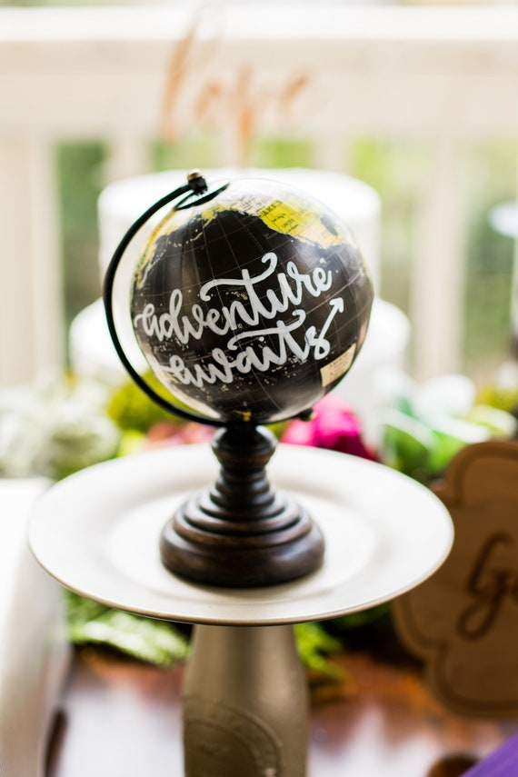 Adventure Awaits Mini Hand Painted Globe hand Lettered Mini | Etsy