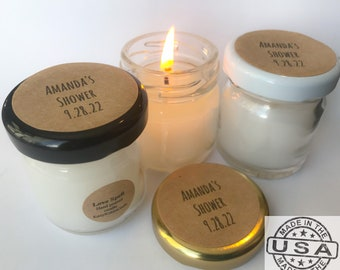 Candle favors,personalized,wedding favors, mini favors, mini candles, soy candles,thank you gifts,bridal shower favors,baby shower favors