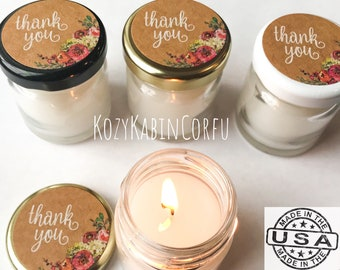 18 Candle favors, wedding favors, mini favors, mini candles, soy candles, thank you gifts, bridal shower favors, baby shower favors
