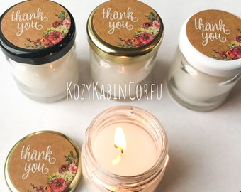Candle favors, wedding favors, mini favors, mini candles, soy candles, thank you gifts, bridal shower favors, baby shower favors