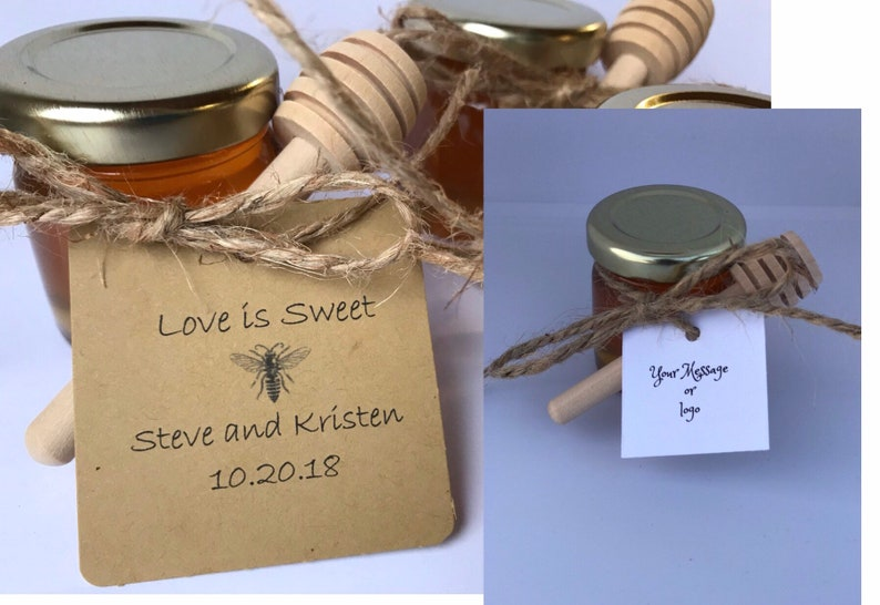 75 honey favors,wedding favor,mini wood dippers,personalized bee tag,mini  honey jars,raw honey,bulk honey,honey shower favors,honey wedding