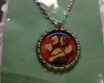 PAWPRINT bottlecap necklace ALL for CHARITY