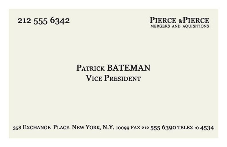 American Psycho Film Affiche Patrick Bateman Carte De Visite