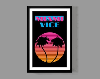 80's Poster - Miami Vice Poster - Classic Sunset / Palm Tree Print - 80's TV Show - Crime Detectives