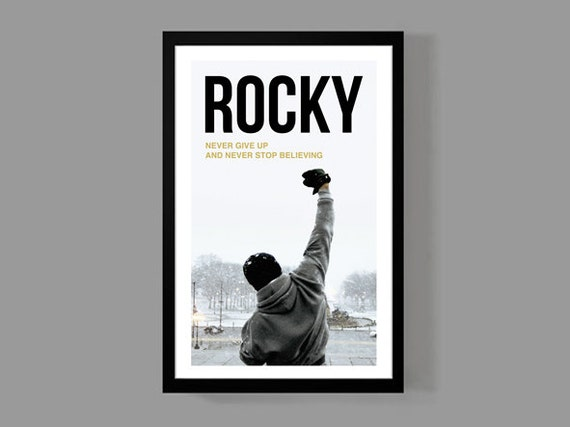 Rocky Movie Poster Inspirational Quote Print Motivational Sports Boxing Historic Iconic