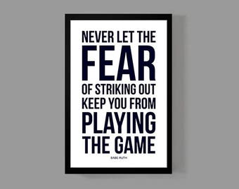Sports Quote Poster - Baseball Print - Inspirational, Motivational, Historic, Iconic, New York, Legend