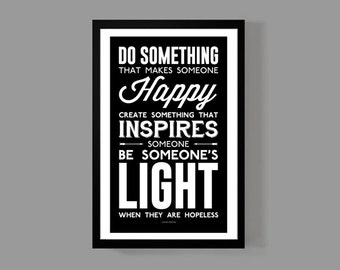 Dave Grohl Custom Poster - Be Someone's Light When They Are Hopeless - Inspirational Quote Print, Motivational, Music, Gift