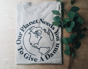 Give a Damn Unisex tee, graphic tee, folk style, minimalist style, love your planet, planet earth, climate crisis, save our planet, earth