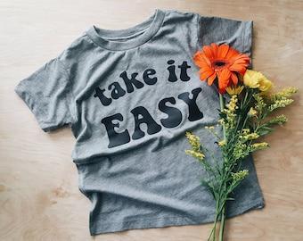Take it Easy kids tee, cool kids clothes, hip kids shirts, hipster kids, modern kids clothes, trendy kids shirts, graphic kids tees