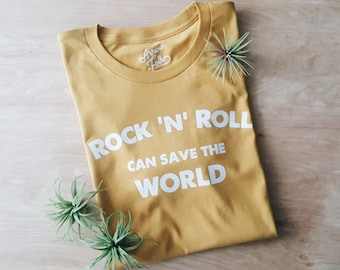 Rock N Roll Can Save the World Unisex tee, modern graphic tees, less is more, simple tee, minimal, rocker, modern, rock n roll all night
