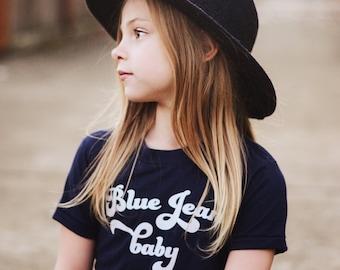 Blue Jean Baby kids tee, cool kids clothes, hip kids shirts, hipster kids, modern kids clothes, trendy kids shirts, graphic kids tees