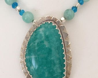 Amazonite Bezel-set in Stamped Sterling On Beaded Necklace