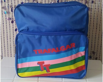 02abba77f5 SALE Retro 1980s Carry On luggage Trafalgar Statement Bag Vintage Gym 80s  Festival Overnight Rave Bag Backpack Suitcase Blue Rainbow Brite