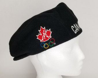 67689b7633a Rare ROOTS Athletics Canada Olympic Hat 1998 Nagano Team Canada Mens Womens  Winter Fleece Vintage Black Beret Size Medium NWT Tags