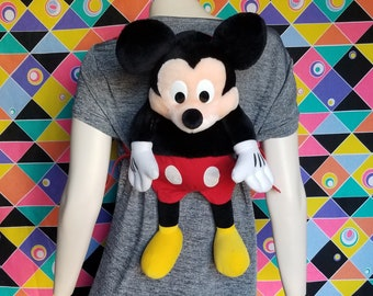6fa9dcad848 Vintage Mickey Mouse Plush Backpack Rucksack Knapsack Outfit Disney World  Land Character Clothes Accessories Travel Bag Rare 90s Gift