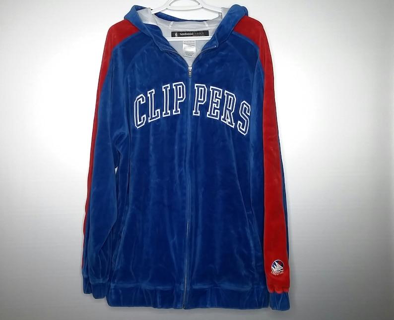 super popular b2271 12bc3 Vintage Reebok Hardwood Classics San Diego Clippers NBA Blue Red Velvet  Velour Tracksuit Hoodie Zip Up Sweatshirt Hip Hop Mens L Gift 80s 90