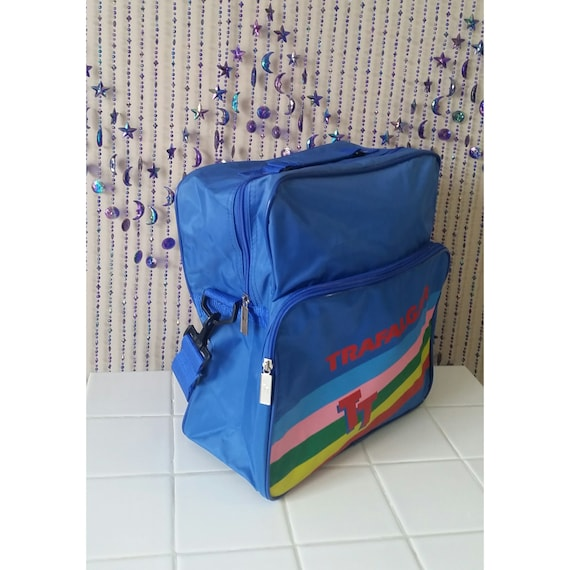 21f9a7d5418aa2 SALE Retro 1980s Carry On luggage Trafalgar Statement Bag Vintage Gym 80s  Festival Overnight Rave Bag Backpack Suitcase Blue Rainbow Brite