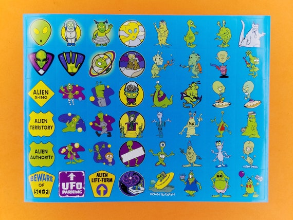 Sci Fi Aliens Face Vinyl Stickers decor stationery cards crafts kids