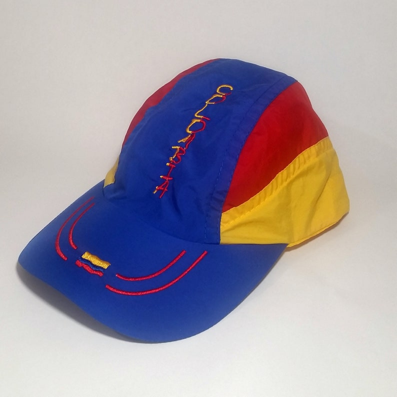 acbefd65e Vintage 90s Colombia Flag Color Block 5 Panel Cap Nylon Sportswear  Adjustable Hat Yellow Red Blue Primary Rainbow Souvenir Adult Size