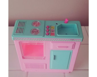 SALE 1996 Mattel Battery Operated Kitchenette Sink Oven Fridge Cupboard 90s Barbie Doll Mattel Miniature Vintage Toys Doll House