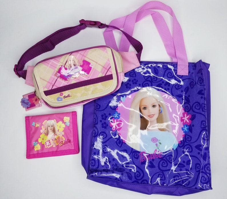 9243a16a2342 Rare Vintage Barbie Lot Wallet Fanny Pack Tote Bag 90s Kids Little Girls  Barbie Girl Pink Aesthetic Gift
