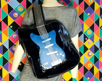90s Vintage Electric Guitar Sling Backpack Bag Music Clothes Rave Fashion Festival Outfit Hipster Rocker Old School Gift
