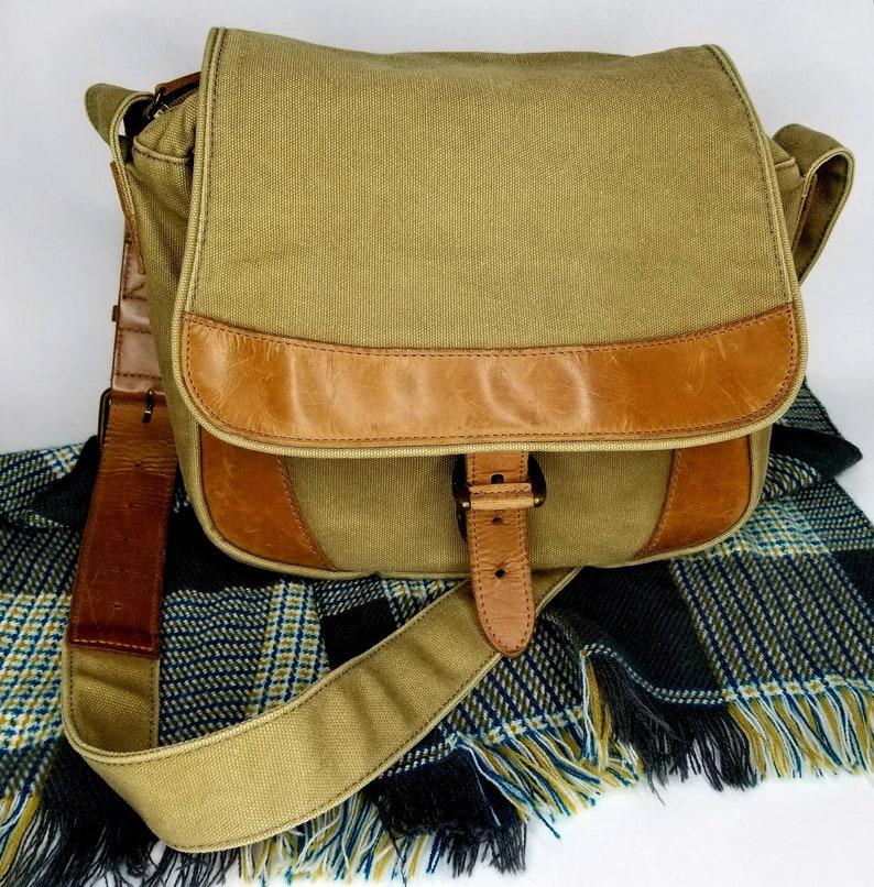 1db49ec5b5 Vintage LL Bean Canvas Leather Crossbody Messenger Bag Khaki
