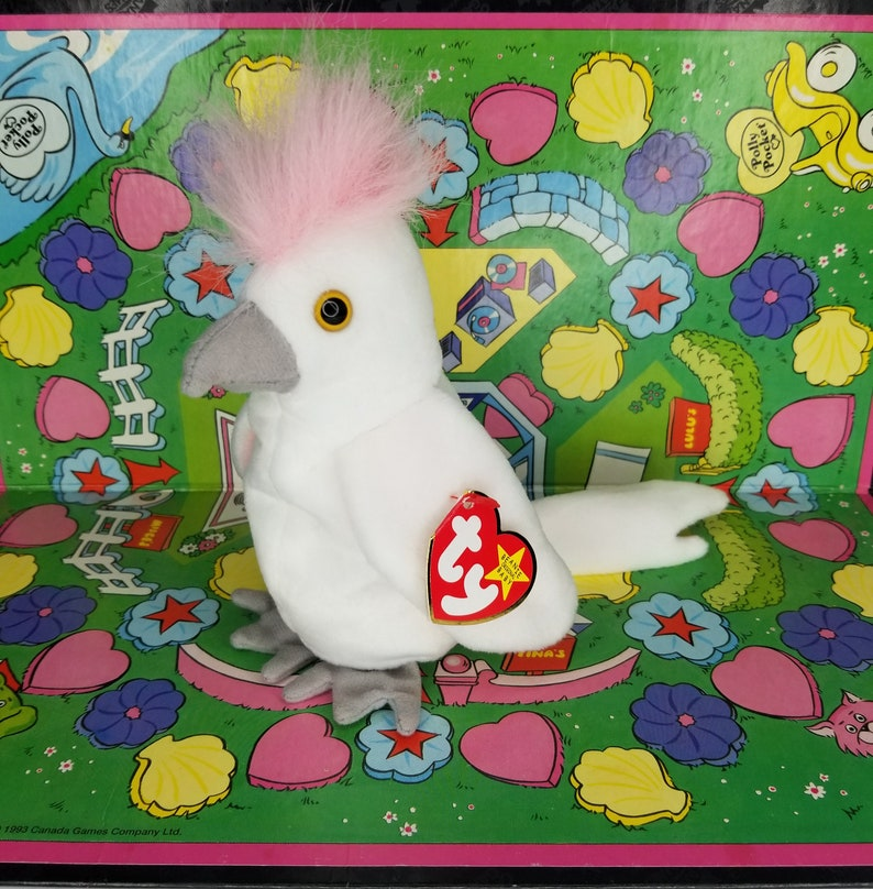 KuKu With Errors Rare Ty Beanie Baby Retired 1997 1998 90s Kid Nostalgia  Rare 1st Edition White Pink Bird Cockatiel Collectible Gift