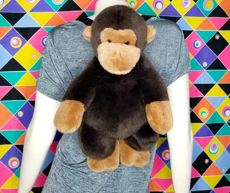 c70d2174a 90s Vintage Plush Monkey Backpack Spirit Animal Rucksack Knapsack Kids Toys  Curious George Bag Clothes Fashion Animal Outfit Gift