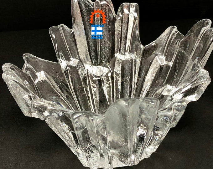 Featured listing image: Humppila vintage icicle candle holder Tauno Wirkkala design 1970s | clear crystal glass | Finnish Nordic Scandinavian votive bowl Revontulet