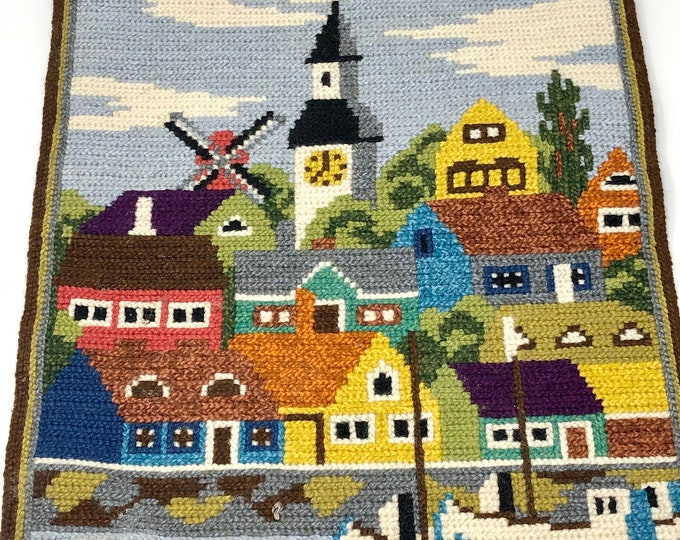 Featured listing image: Vintage Scandinavian embroidered wall hanging sea town scape | Nordic tapestry| Stitching embroidery | Swedish Sweden Norway