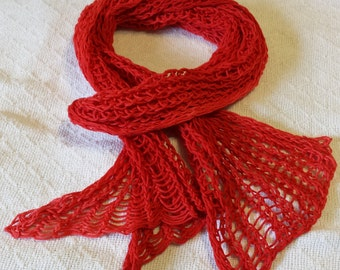 Lightweight Scarf in Bright Red Shades! Hand Dyed, Guaranteed Unique!